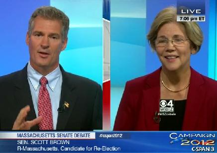 Brown v. Elizabeth Warren debate screen shot