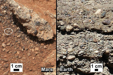 Martian rock outcrop near the landing site of the rover Curiosity thought to be the site of an ancient streambed, next to similar rocks shown on Earth