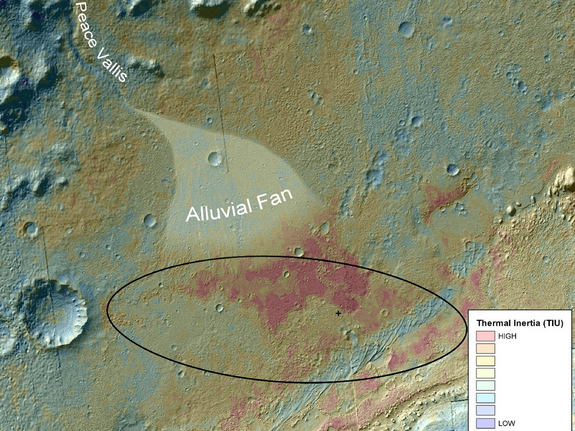 Gale Crater on Mars, where NASA's Curiosity rover landed on August 5, 2012