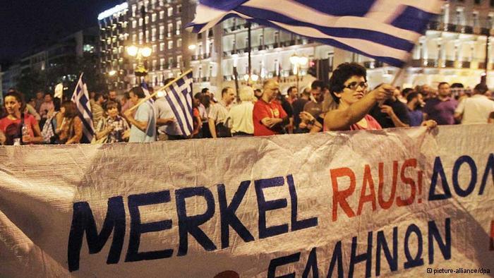 No red carpet for Merkel as she visits Athens.