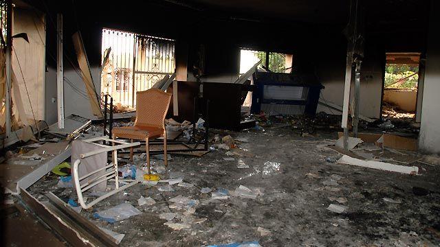 Aftermath of September 11, 2012 Libya attack that killed US Ambassador Chris Stevens.