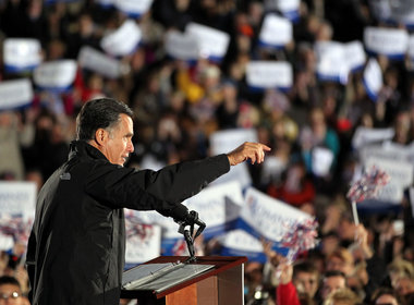 Republican Presidential candidate Mitt Romney talks to the crowd in Cuyahoga Falls on October 9, 2012. (Scott Shaw/Plain Dealer)