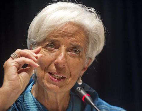 Christine Lagarde of the IMF speaks in Tokyo on October 11, 2012.