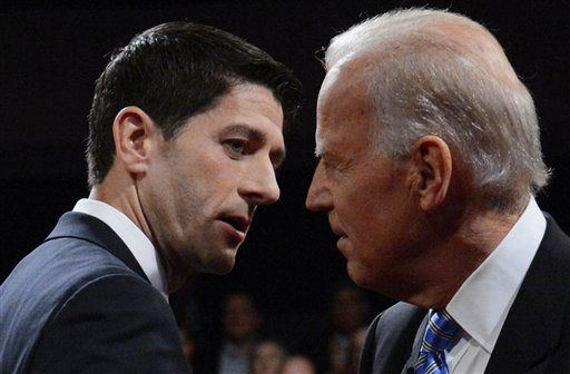 In this AP photo, Republican vice-presidential nominee Rep. Paul Ryan of Wisconsin and Democratic Vice President Joe Biden shake hands after the vice-presidential debate at Centre College in Danville, Ky on October 11, 2012.