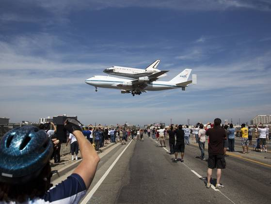 The Space Shuttle Endeavour gets a ride to LAX.