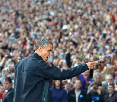 In this Getty Images file photo, President Obama gestures to supporters as he arrives for a rally at the University of Wisconsin-Madison, returning to the campaign trail after his Wednesday debate against Mitt Romney.
