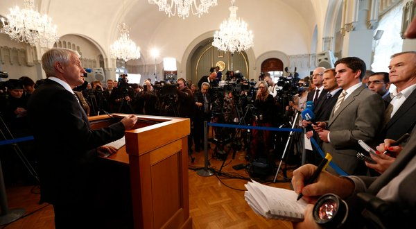 In this European Pressphoto Agency file, Thorbjorn Jagland, the chairman of the Norwegian Nobel Committee, announces the winner of the peace prize on Friday, Oct. 12, 2012 in Oslo.