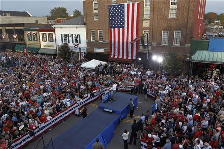 Presidential contender Mitt Romney is drawing larger crowds as Election Day nears. In this Reuter's photo, he's seen speaking at a campaign rally in Lebanon, Ohio on October 13, 2012.