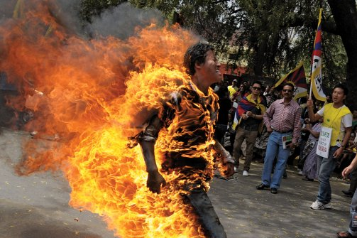 Jampa Yeshi self-immolates in March to protest China's policies. (K Asif / India Today Group-Getty Images)