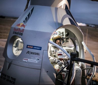 An Austrian daredevil suited up on Sunday in the hopes of making his long-delayed skydive from a balloon flying 23 miles above the planet and breaking the sound barrier.