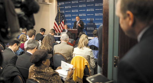 Sen. Charles Schumer speaks on the fiscal cliff issue Tuesday. | M.Scott Mahaskey/POLITICO