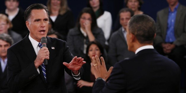 Republican presidential nominee Mitt Romney, left, addresses President Obama directly during their debate at Hofstra University on Oct. 16, 2012, in Hempstead, NY. Photo: AP
