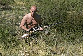 AP photo: Putin on a 2010 hunting trip in Siberia.