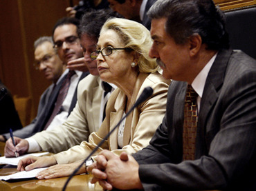 The president of Greece's Association of Judges and Public Prosecutors Vassiliki Thanou-Christophilou (R) attends a meeting of Greek judges at the supreme courthouse in Athens. Credit: AFP