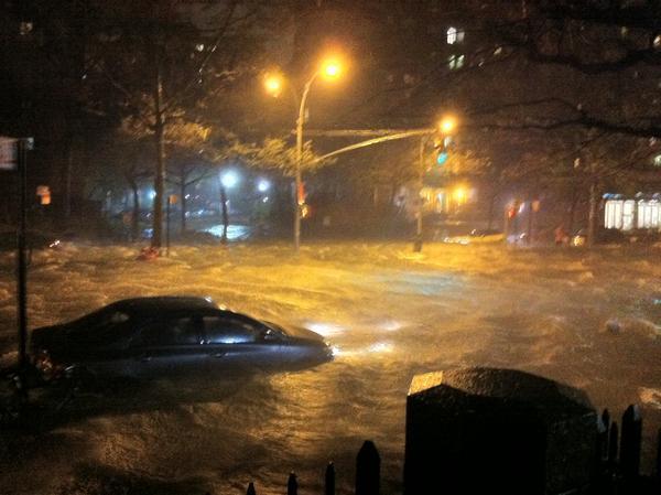 Hurricane Sandy floods Avenue C and 20th St. in Manhattan, Oct 29, 2012. Credit: Twitter user @GoogleFacts