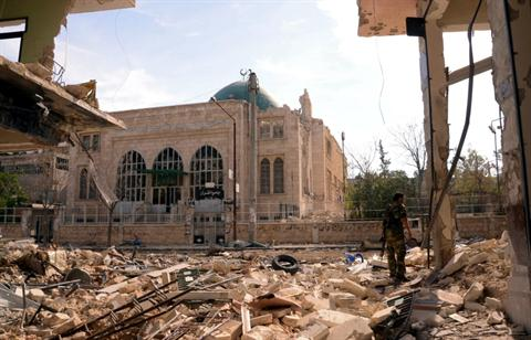 A general view shows destruction in the Suleiman al-Halabi nieghbourhood, now under full army control according to state media, in the northern Syrian city of Aleppo on October 30, 2012. Credit: AFP