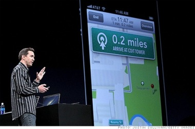 Scott Forstall demoing the poorly received new Maps app from Apple