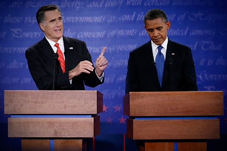 Most pundits concluded that Mitt Romney defeated Barack Obama in the first Presidential Debate of the 2012 campaign, held on October 3, 2012 in Denver, Colorado.