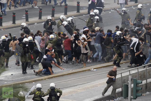 Anti-Merkel protests in Athens turned violent.