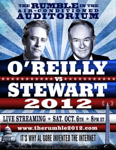 OReilly vs Stewart, debate, October 6, 2012 at 8pm ET.