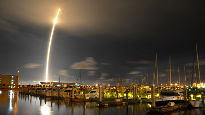 AP photo: A 71-second exposure as seen from Port Canaveral, Florida of the SpaceX Falcon 9 launch on October 7, 2012.