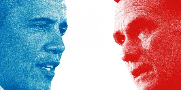 National polls show President Obama (left) and Mitt Romney (right) are locked in a statistical tie. Credit: (L) Brian Kersey/UPI, (R) Cliff Owen/AP, via National Journal