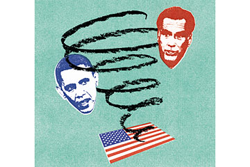 The Obama/Romney funk. Credit: Illustration by Oliver Munday for Time, headshots from Getty Images