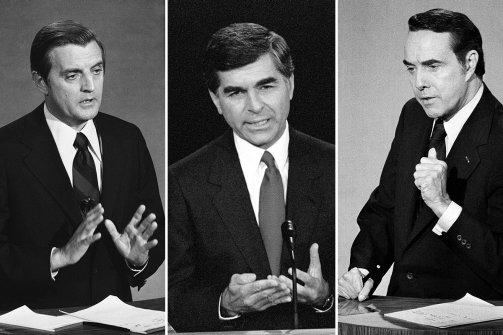 IMAGE: Three second-place presidential finishers: Walter Mondale (1984), Michael Dukakis (1988), and Bob Dole (1996). Credit: The Daily Beast