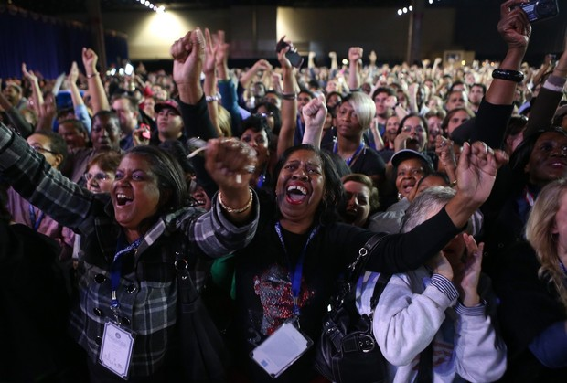 IMAGE: Supporters of US President Barack Obama cheer during the Obama Election Night watch party at McCormick Place November 6, 2012 in Chicago, Illinois. Obama defeated his Republican opponent, former Massachusetts Governor Mitt Romney. Credit: Getty Images