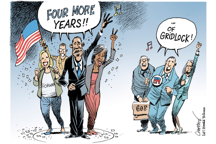 IMAGE: Cartoon of Obama team saying 'Four more years' and Republicans adding, '...of gridlock!' Credit: Int'l Herald Tribune