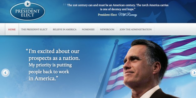 IMAGE: Mitt Romney's Election 2012 victory website, accidentally published after his defeat to Barack Obama. Credit: Political Wire