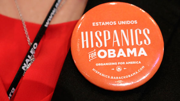 IMAGE: Obama campaign pin from Hispanics for Obama. Credit: Reuters
